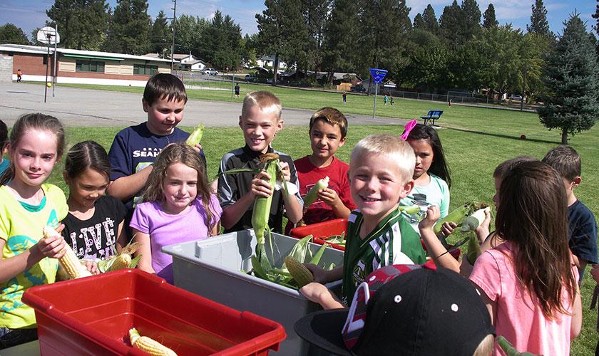 kids from cvsd in a field