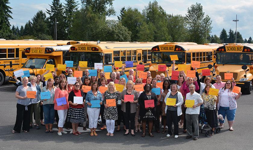 Marysville School District kids and school buses